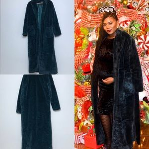 Forrest Green Faux Fur Floor Length Robe